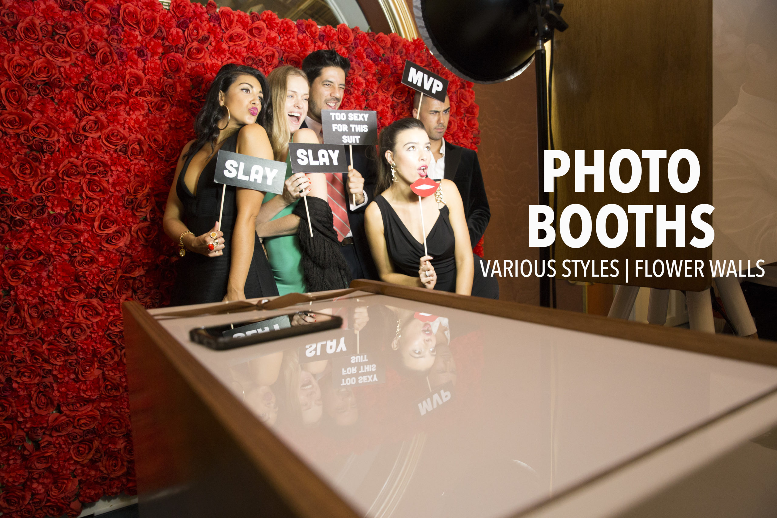 cheap Photo booth hire sydney flower wall backdrop